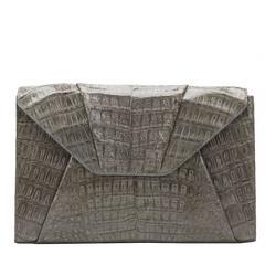2000s Nancy Gonzalez Grey Crocodile Leather Clutch-on-Strap