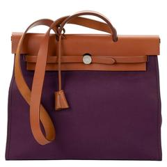 2011 Hermès Natural Leather & Cassis Canvas Herbag Zip