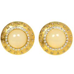 Chanel Goldtone and Crystal Clip-On Earrings