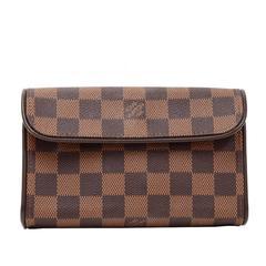 Louis Vuitton Pochette Florentine Ebene Damier Canvas Clutch Bag