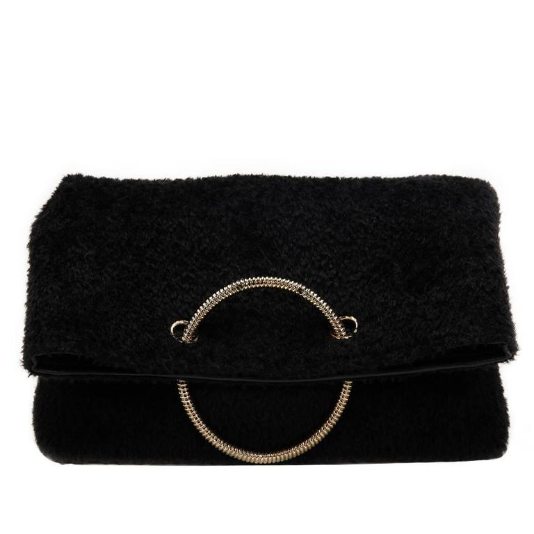 2015 Victoria Beckham Black Shearling Spiral Clutch For Sale