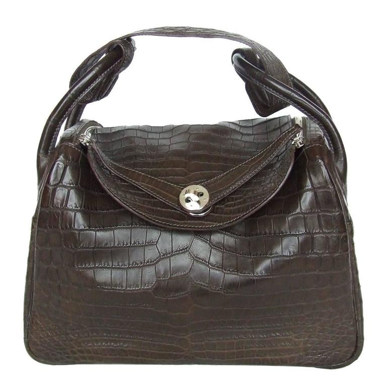 Exceptionnal Hermes Lindy Handbag Brown Matte Crocodile Niloticus PHW 30 cm 1