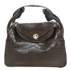 f7c634103f Exceptionnal Hermes Lindy Handbag Brown Matte Crocodile Niloticus PHW 30 cm