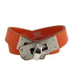 Hermes Orange Kelly Double Tour KDT Guilloche Bracelet Bangle - Rare