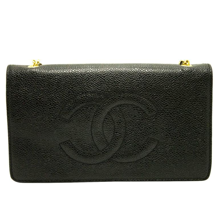 1f19bacf251f Authentic CHANEL Caviar WOC Wallet On Chain Shoulder Bag Crossbody Black  c38 For Sale