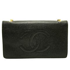 Authentic CHANEL Caviar WOC Wallet On Chain Shoulder Bag Crossbody Black c38