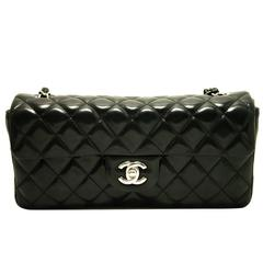 Authentic CHANEL 2.55 Silver Chain Shoulder Bag Black Quilted Single Flap c54