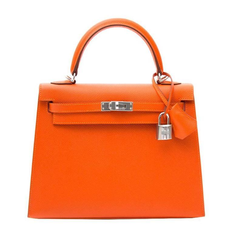 Brand New Hermes Kelly Feu Epsom 25 PHW at 1stdibs