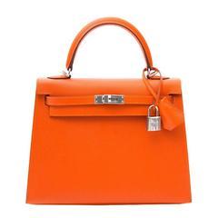 Brand New Hermes Kelly Feu Epsom 25 PHW