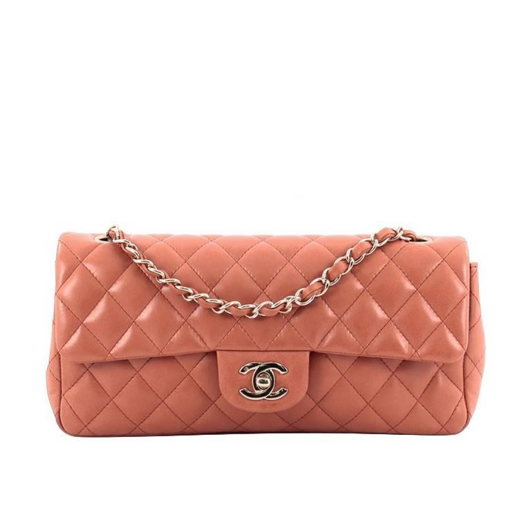 c911bd16b07b Chanel Classic Single Flap Bag Quilted Lambskin East West at 1stdibs