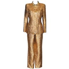 CHANEL Gold Brocade Colored Rhinestones Gripoix Buttons Fancy Pantsuit