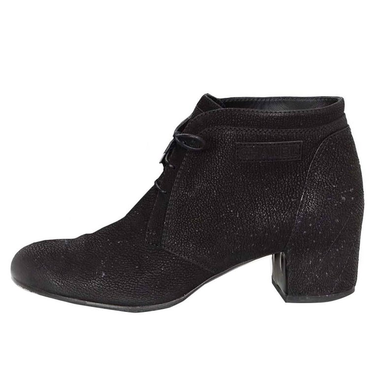 Chanel Black Suede Lace Up Heeled Ankle Boots Sz 42 For Sale