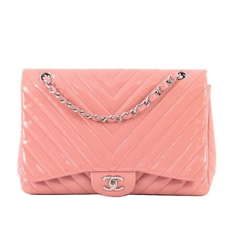 34becb228917 Chanel Classic Single Flap Bag Chevron Patent Jumbo at 1stdibs