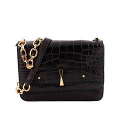 Alexander McQueen Legend Chain Shoulder Bag Crocodile Embossed Leather