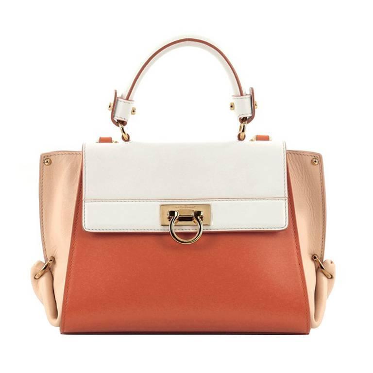 0d3044074ef Salvatore Ferragamo Tricolor Sofia Satchel Smooth Leather Small For Sale