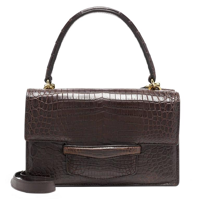 Lorry Newhouse Dark Brown Crocodile Double Bag