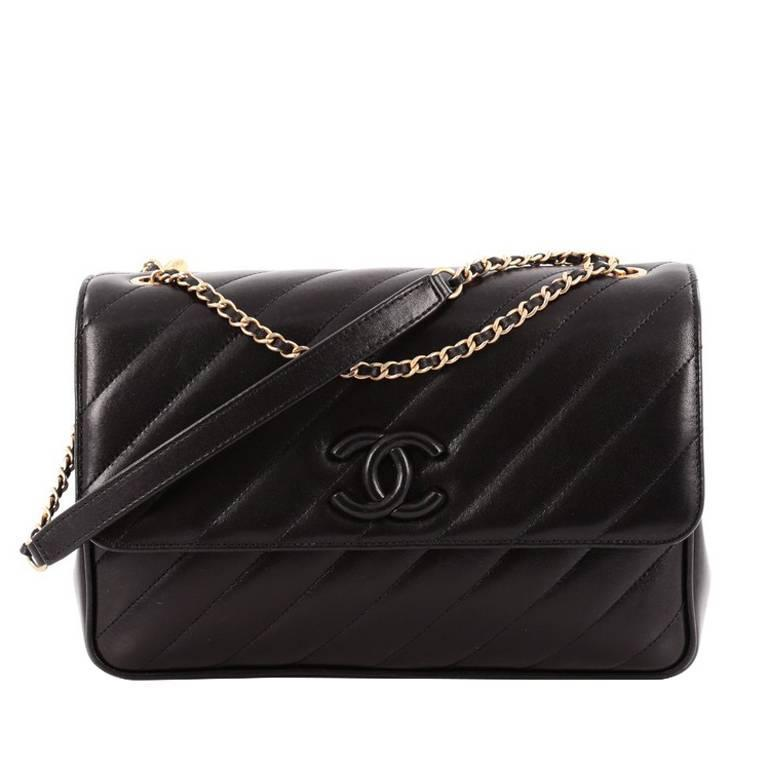Chanel Cc Signature Flap Bag Diagonal Quilted Leather Medium For