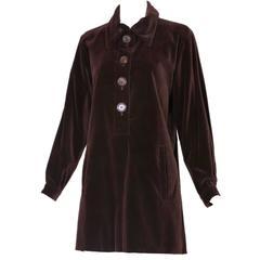 Vintage Yves Saint Laurent Brown Velvet Tunic Dress Top