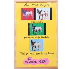 """1991 Yves Saint Laurent Framed """"Love"""" Poster in the Style of Andy Warhol"""