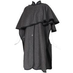 Yves Saint Laurent YSL Grey Wool Cape W/Black Trim