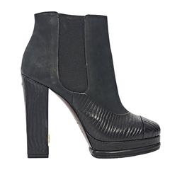 Black Chanel Textured Heeled Chelsea Boots