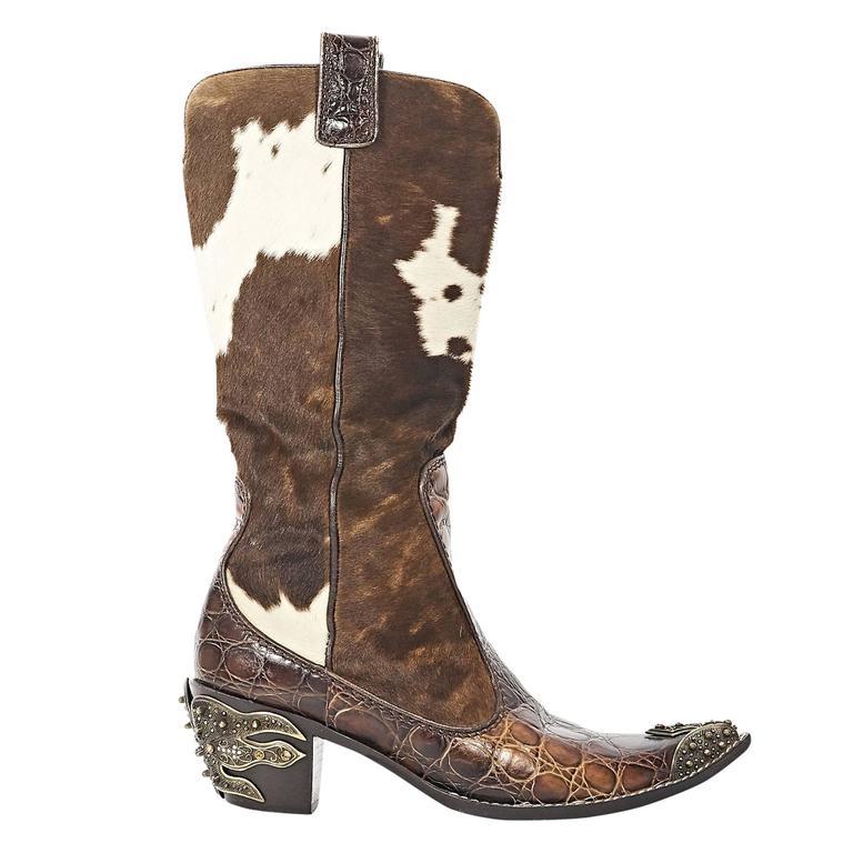 Brown Giuseppe Zanotti Pony Hair Cowboy Boots At 1stdibs