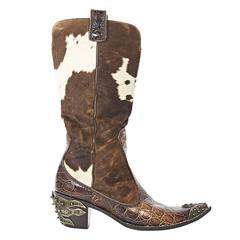 Brown Giuseppe Zanotti Pony Hair Cowboy Boots