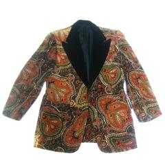 Men's Paisley Cotton Velvet Tuxedo Jacket C 1970s