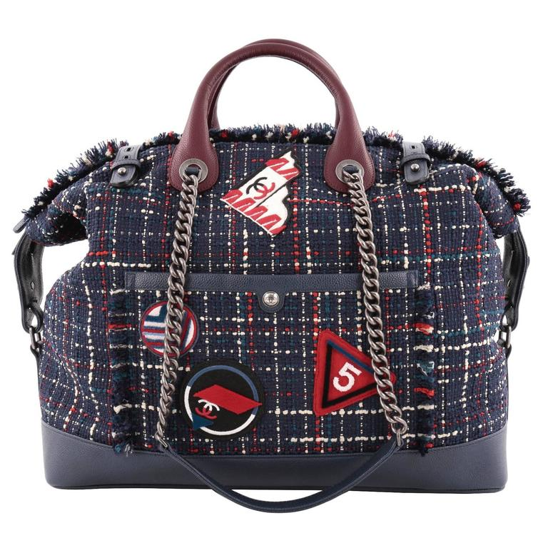 d2f04b8d6a0e Chanel Crest Trip Bowling Bag Patch Embellished Tweed and Grained Calfski  For Sale
