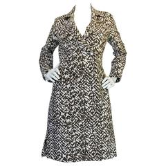 Amazing 1970s Givenchy Structured Taupe Print Coat