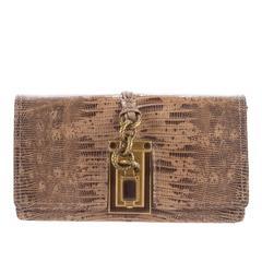 Bottega Veneta Brown Gold Knot Leather Skin Envelope Evening Clutch Flap Bag
