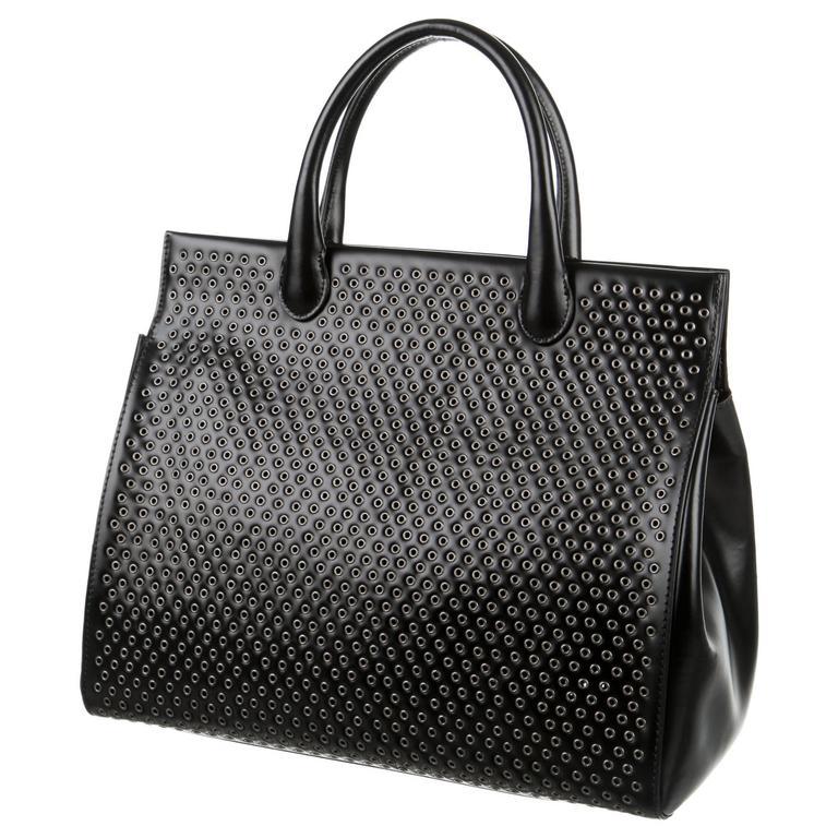 Alaia New Black Leather Silver Metal Embellish Large