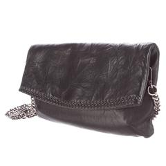 Balmain NEW Leather Silver Chain Clutch Crossbody Shoulder Strap Flap Bag