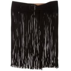 Alaia NEW Black Suede Leather Silver Buckle Fringe Skirt Accessory Waist Belt