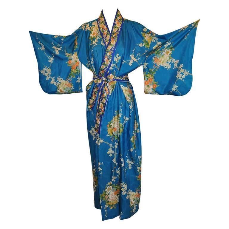 Cobalt Blue Floral Silk Japanese Kimono 1