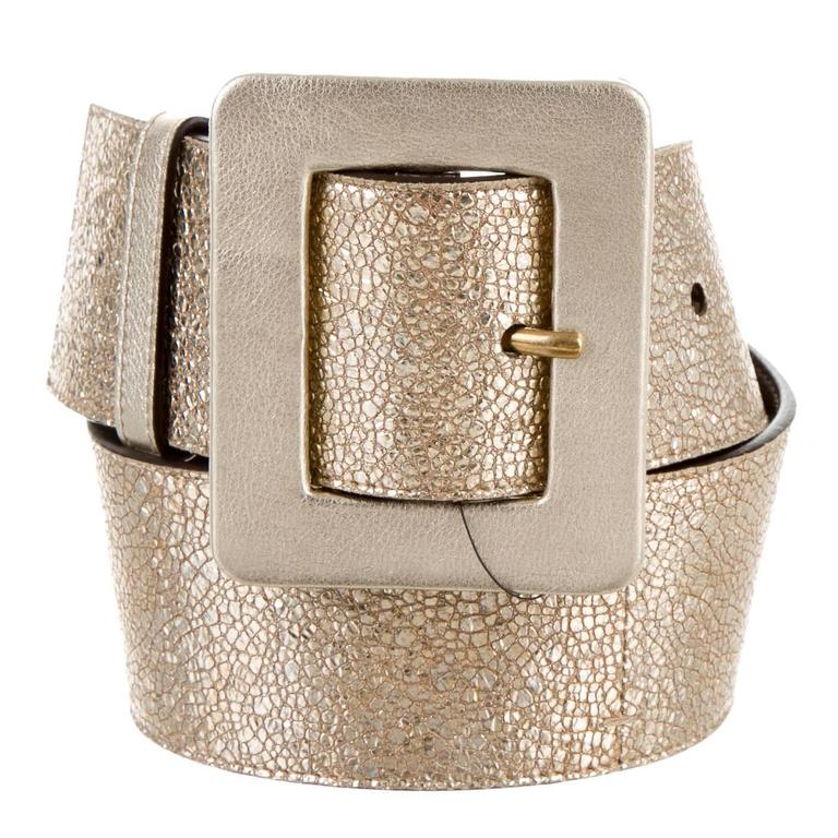 yves laurent new gold metallic leather wide waist