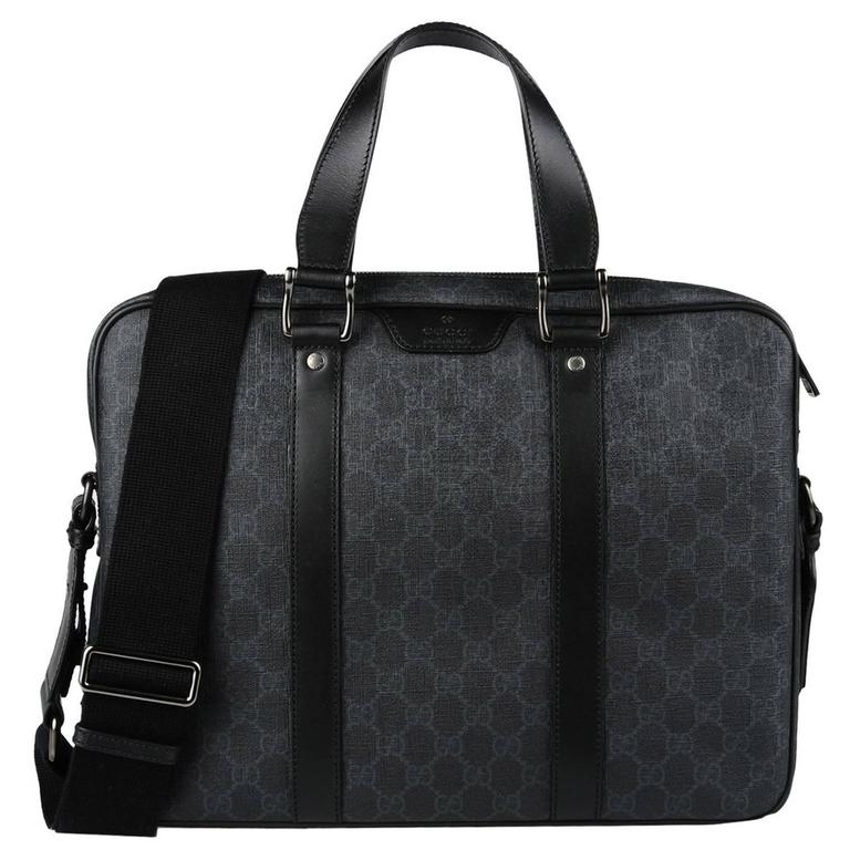 Gucci NEW Black Gray Monogram Men's Satchel Carryall Laptop ...
