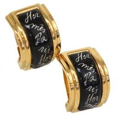 Hermes Black Enamel Gold 'Hermes' Logo Huggie Dangle Drop Earrings
