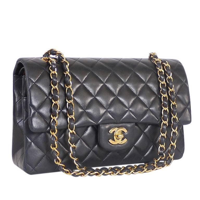 b462af6b00ce3 Chanel Black Lamb 2.55 Double Flap Medium Classic Shoulder Bag For Sale