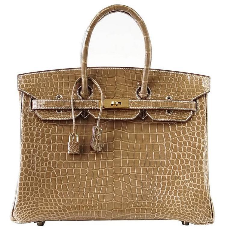 Hermes Birkin 35 Bag Ficelle Porosus Crocodile Gold Hardware