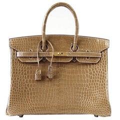 Hermes Ficelle Porosus Crocodile Gold Hardware Birkin 35 Bag