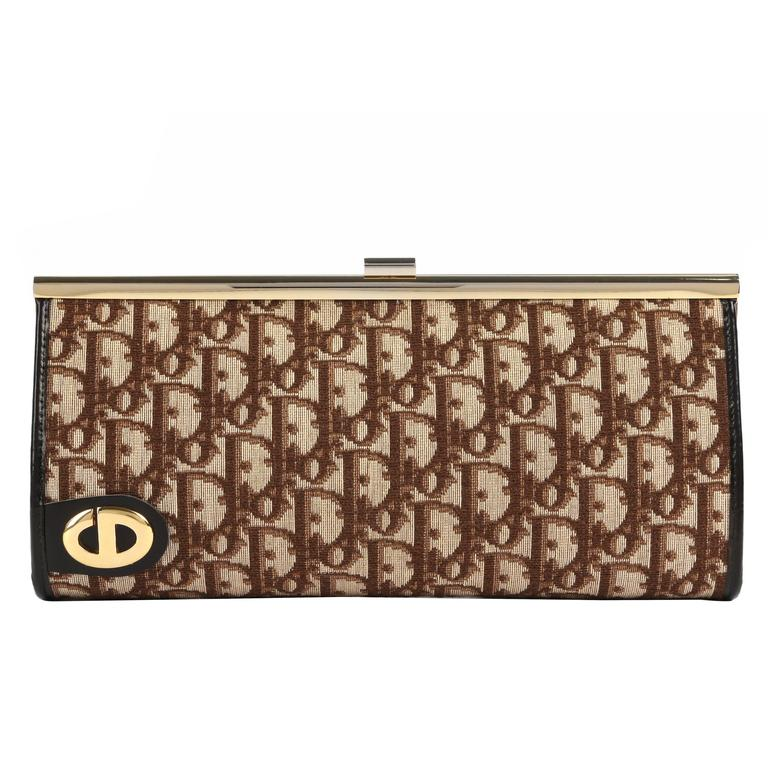 5511f0936938 CHRISTIAN DIOR c.1970 s Brown Signature Monogram Canvas Leather Clutch  Purse Bag For Sale