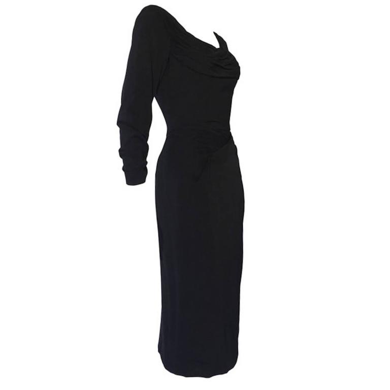 Vintage 1950s Ceil Chapman Black Gathered Fitted Dress  1