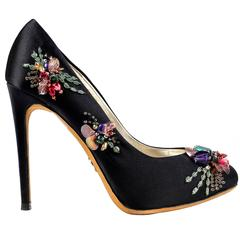 DOLCE & GABBANA Black Satin Beaded Embellished Platform Pumps Heels Shoes 37.5