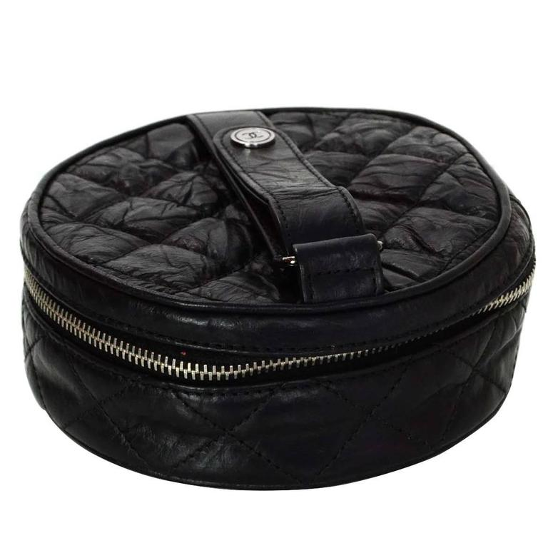 Chanel Black Distressed Leather Jewelry Case 1