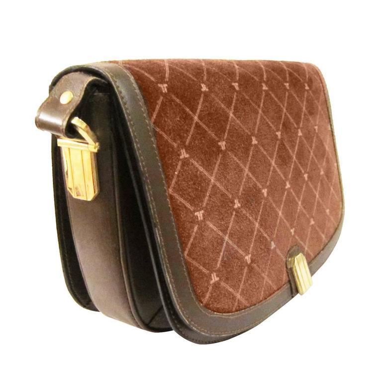 Lanvin Pink Marron Suede Shoulder Box Bag 70s