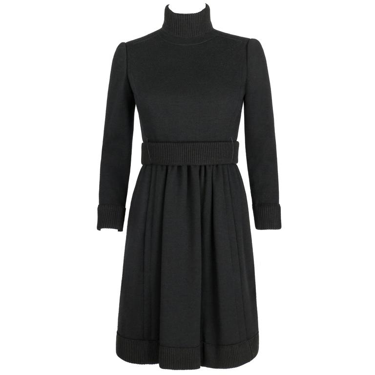 DONALD BROOKS c.1960's Black Mod Ribbed Mock Neck Button Up Belted Coat Dress