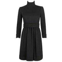 DONALD BROOKS c.1960's Black Mod Ribbed Mock Neck Button Up Belted Coat Dress
