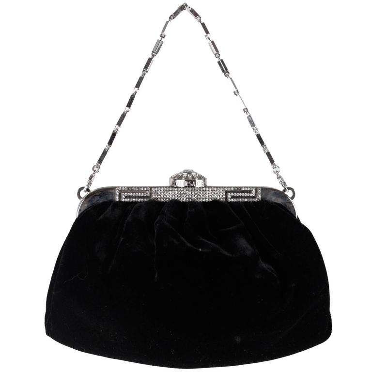 VERSACE Black Velvet EVENING Bag CLUTCH Purse RHINESTONES Detail ...