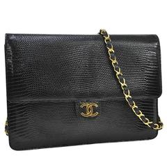Chanel RARE Black Lizard Gold Evening Flap Shoulder Bag